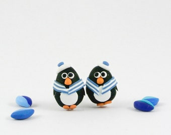 Sailor Penguin Post Earrings - Cute nautical jewelry - stripes navy blue, jeans blue, pink, red