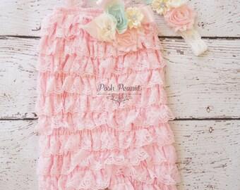 shabby chic petti lace romper- mint petti lace romper- petti lace romper set- light pink petti romper- romper- baby romper