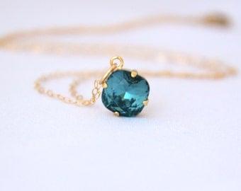 Peacock Blue Crystal Pendant, Blue Swarovski Necklace, Gold Filled, Gift for Her