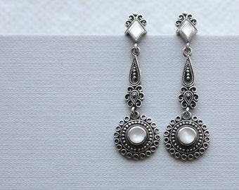 Sterling Silver Mother of Pearl Bohemian Earrings
