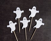 Halloween Cupcake Toppers, Ghosts, Party Decor, Halloween Decor, White, Double-Sided, Spooky, Fun, Set of 15