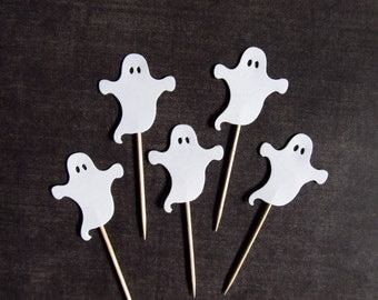 Halloween Cupcake Toppers, Ghosts, Party Decor, Halloween Decor, White, Double-Sided, Spooky, Fun, Set of 18