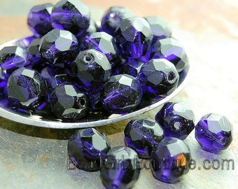 8mm Czech Beads Faceted in Deep Violet Purple -25