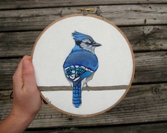 Hoop Art - Blue Jay - Original Bird Art Acrylic Painting with Embroidered Blue Jay Feathers - Blue Jay Art - Woodland Nursery Decor