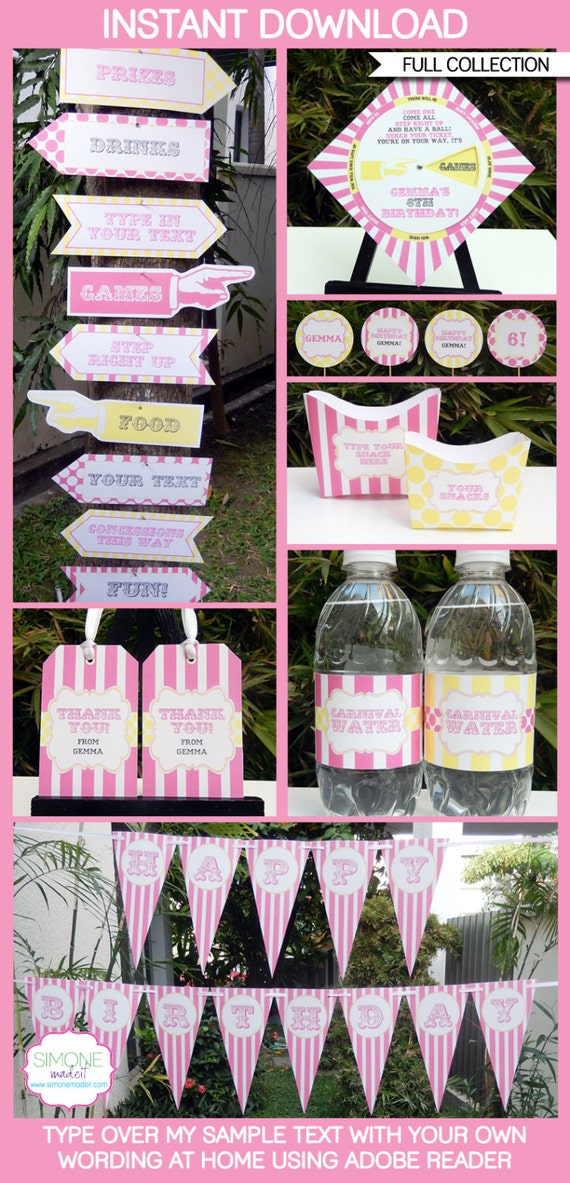 Carnival Party Invitations & Decorations - pink yellow - full ...