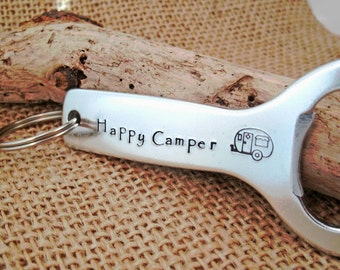 Bottle Opener - Happy Camper Bottle Opener - Camping Supply - Personalized Bottle Opener - Camper key chain