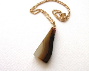 Vintage Agate Slice Necklace with Raw Edge & Brown Striations