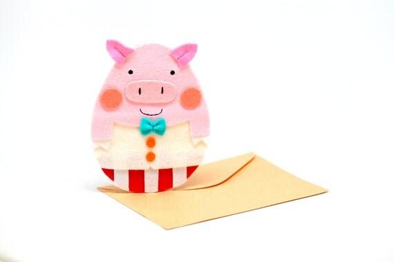 Felt pink piggy card,gift card,birthday,anniversary card