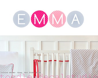 NAME wall decals custom personalized reusable kids FABRIC stickers girls boys