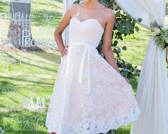 Lacie - Lace Wedding Dress-  Short Wedding Dress, Repception Dress, Garden Wedding, Peach, Pink Wedding Dress, Blush and Ivory