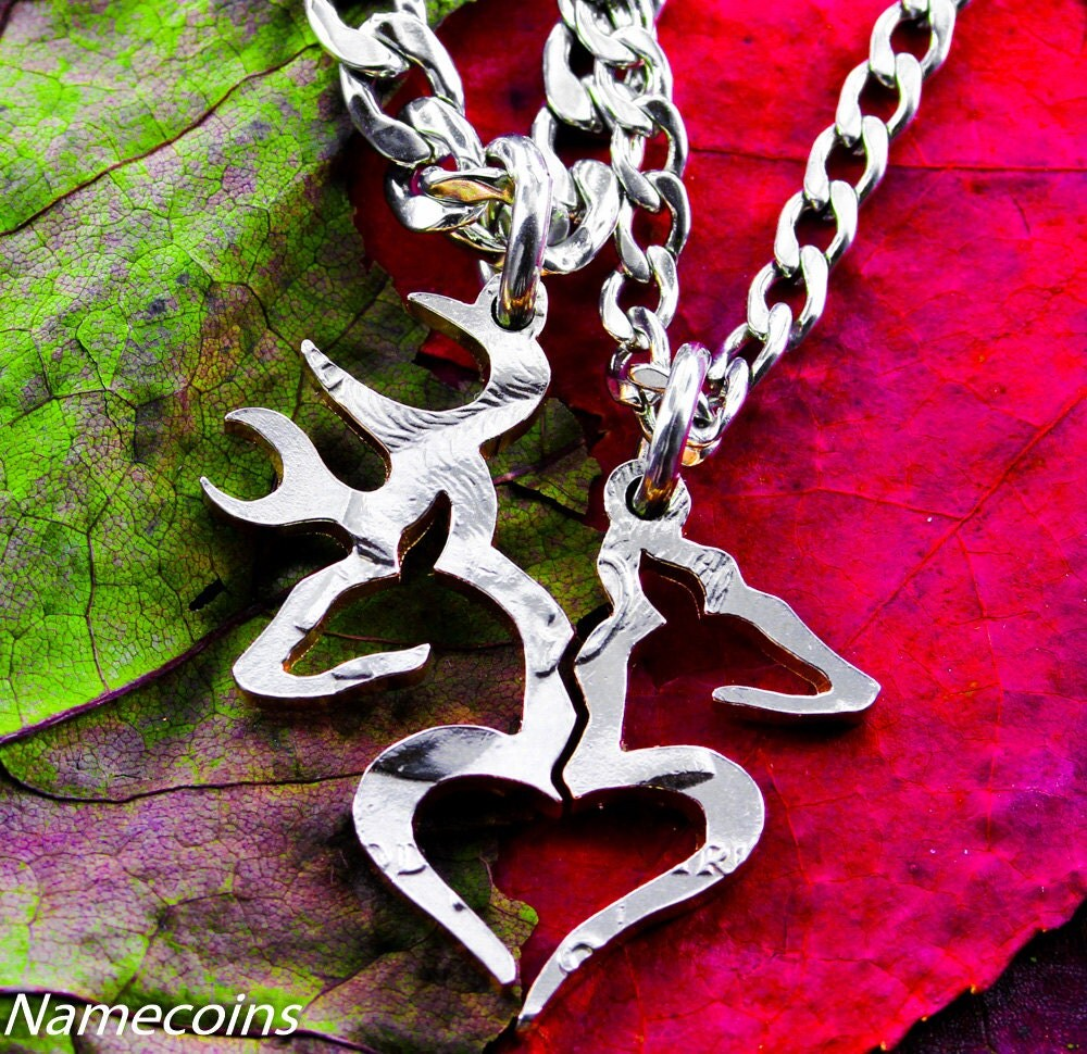Country Necklace Girl and Boy Buck and Doe Heart broken in