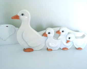 Vintage Figurine - Porcelain Duck & Ducklings - 1950's - Retro Duckling Figurine