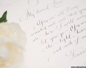 A hand lettered Love Note. Custom Calligraphy Love letter | F o r e v e r