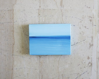 Little Sea Painting - Abstract Blue Sea - Aegean Sea - Acrylic Painting on Wood - Small Format Art - Modern - Greek Summer Memento
