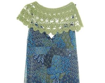 Green Crochet Capelet Hand Crocheted Large Collar Oversize Handmade