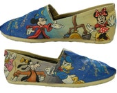 Cartoon Characters Disney Painted Toms Canvas Sneakers Custom Design (Complex)