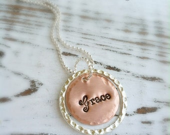 GRACE Necklace . Faith Necklace . Custom Jewelry . Personalized . Faith Jewelry . Love Jewelry . Copper