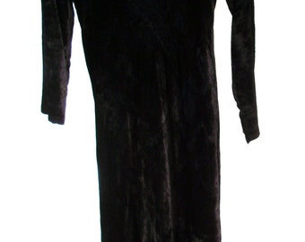 Black Crushed Velvet - Embroidered Dress  ~ Bohemian Hippie Gypsy Chic - Maxi