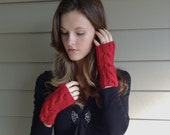 Red Knit Cable Twist Wrist Warmers Fingerless Gloves   True Red   Vegan Yarn