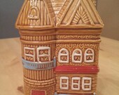Vintage Piggy Bank  Japan Cottage Townhouse Gingerbread House Hand Painted Toll House
