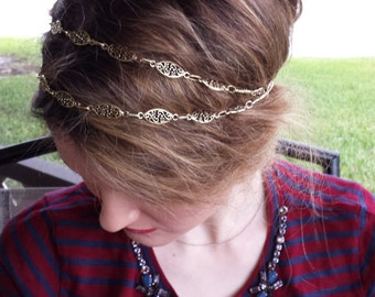 Antique Gold Metal Double Strand Flower Chain Elastic Headband, for weddings, parties, Holiday, special occasions