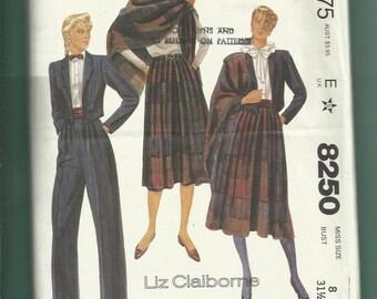 Vintage 1982 McCalls 8258  Liz Clairborne Bolero Jacket Pleated Pants & Pleated Skirt Size 8 UNCUT