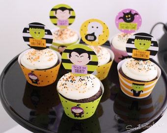 HALLOWEEN Printable Cupcake Toppers and Wrappers. Trick or Treat, witch, vampire, ghost, Frankenstein, Print Your Own.
