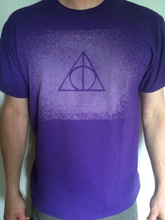 Harry Potter Deathly Hallows Purple Bleach T Men's size Large