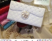 Chic Quilted Leather Handbag Clutch ID Card Wallet Carry iPhone 7 PLUS 6s 5s Purse Gold Long Leather Chain Made w/ SWAROVSKI Element Crystal