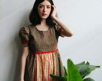 60s Floral Handsewn Mini Dress | Yellow & Red