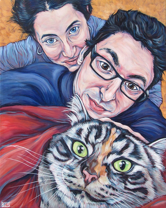 """16"""" x 20"""" Custom Pet Portrait Painting in Acrylic on Ready to Hang Canvas of Dog, Cat, or Horse with 2 People or Owners. Pet Lover Portrait"""