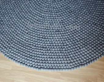 Felt ball rug solid grey, Handmade felt ball rugs, Nepal felt ball rugs, Children nursery rugs