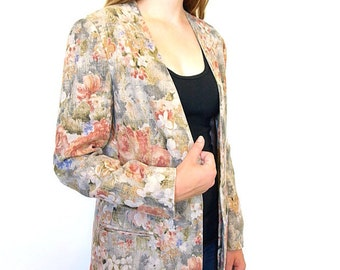Vintage 90s floral designer sacks fifth Avenue linen blazer size 6 small medium