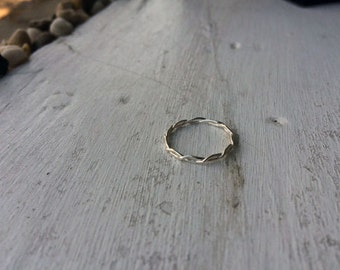 Hammered Infinity Twist Sterling Silver Stacking Ring - custom made to order