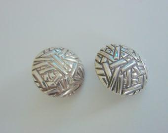 "Taxco Sterling Modernist Earrings / Artist Signed ""SMM"" / Chunky / 14.7 Grams / Jewelry / Jewellery"
