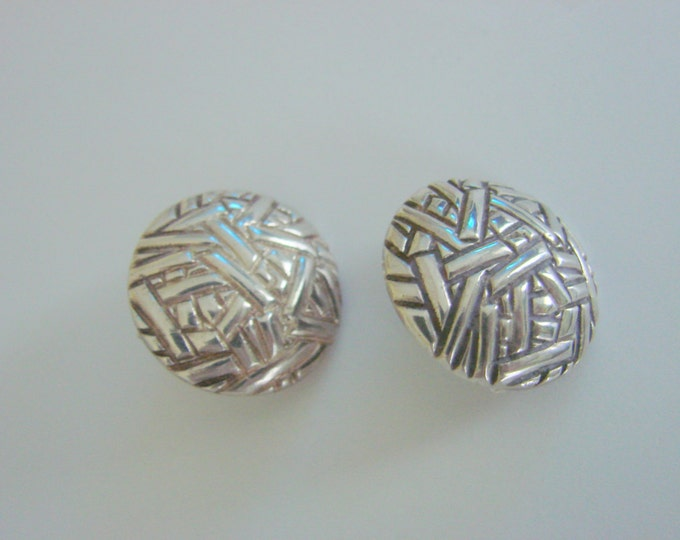 "Taxco Sterling Modernist Earrings / Artist Signed ""SMM"" / Chunky / 14.7 Grams / Jewelry / Jewellery"