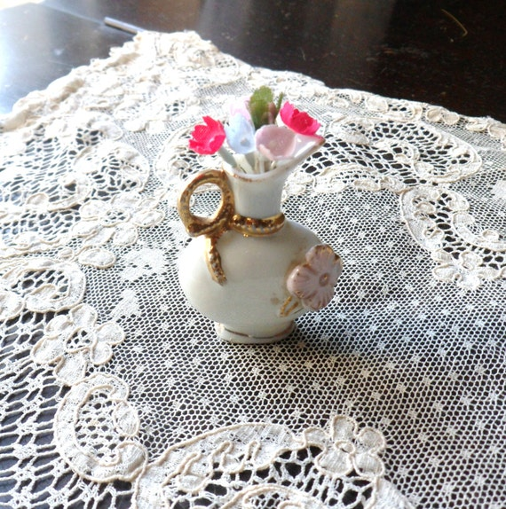Miniature Pitcher, Tiny Porcelain Vase, Victorian Doll House China, Shadowbox Miniature