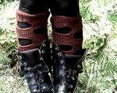 Knitted Women Legwear, Emofo Legwarmer Brown, Ripped Knit Socks, Knee High Socks, Boot Toppers, Boho Socks, chocolate brown Boot Cuffs
