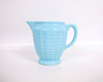 Vintage Robinson Ransbottom Baby Blue Pitcher RRP Co Roseville OH 308 Pottery Water Milk Pitcher Handled Creamer