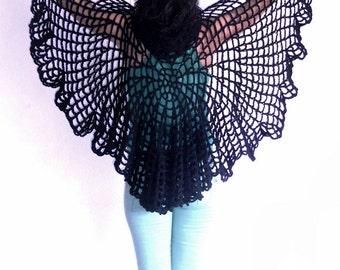 Black shawl , black capelet, spiderweb hoodie shawl, gift ideas , Unique shawl