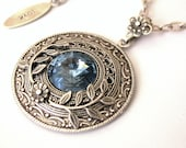 Round Swarovski Crystal Necklace  - Denim Blue More colors - Victorian Silver Pendant - Gothic Jewelry