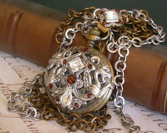 Steampunk Pocket Watch Necklace Gothic Dragon Pocket Watch  Swarovski Crystals Pocket Watch Gothic Watches Game of Thrones Jewelry