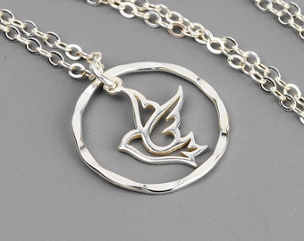 Peace Dove Necklace - Silver Circle Necklace - Sterling Silver Pendant Necklace - Religious Jewelry - Infinity Necklace