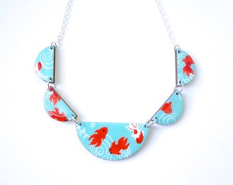 Scalloped Necklace, Turquoise and Red Necklace,  Bunting Necklace, Red Koi Fish, Laser Cut,  Chiyogami Paper, Washi, Origami, Gift under 50