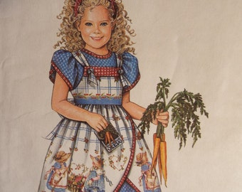 Pick of the Bunch Girls dress with pinafore pattern Daisy Kingdom Simplicity 8551 size 3-6