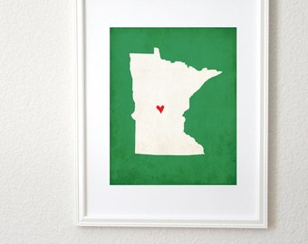 Minnesota Silhouette State Map Personalized Art Print