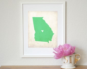 Georgia Rustic State Map. Personalized Georgia Map. Georgia Wedding Map. Wedding Gift. Engagement Gift. Housewarming Gift. Art Print 8x10.
