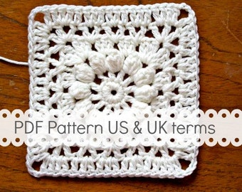 PDF Crochet Pattern - Popcorn and Lace Square - US and UK terms - crochet square, crochet block