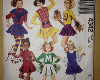 McCalls Sewing Pattern 4342 Girls Costumes Ice Skater, Cheerleader, Band Vintage 80s Size 10