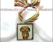 Personalized Pet Ornament Painting Custom Made On Ribbon
